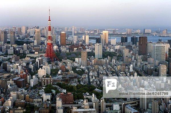 Stadt  Hügel  Tokyo  Hauptstadt  Ansicht  über  Roppongi  Luftbild  Fernsehantenne  Asien  Japan