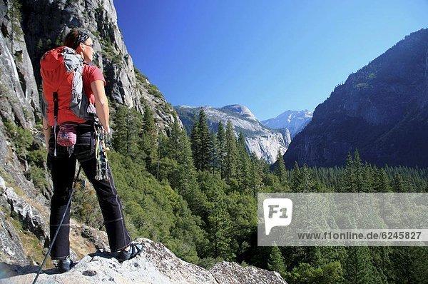 Vereinigte Staaten von Amerika  USA  hoch  oben  Fröhlichkeit  nehmen  Tal  Säule  Nordamerika  Ansicht  Klettern  Yosemite Nationalpark  UNESCO-Welterbe  Pause  Kalifornien