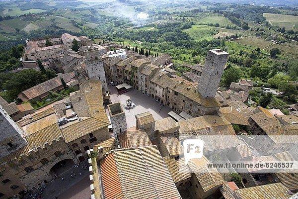 Mittelalter  Europa  Stein  Ansicht  1  UNESCO-Welterbe  Luftbild  Fernsehantenne  Italien  Toskana