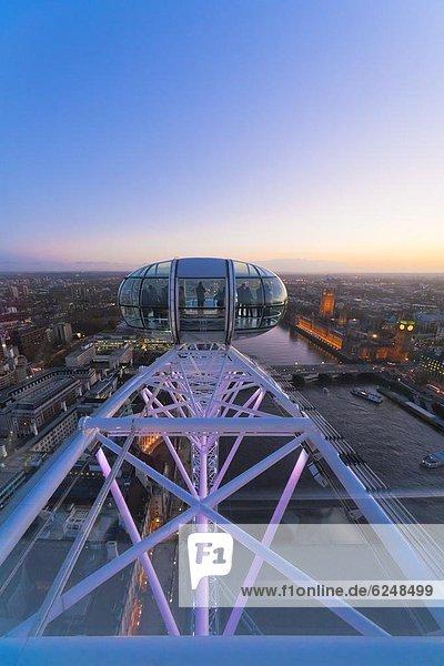 London skyline at twilight seen from the London Eye Observation Wheel  London  England  United Kingdom  Europe