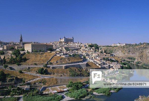 Panorama of the city across the Rio Tajo (River Tagus)  Toledo  Castilla-La Mancha  Spain  Europe