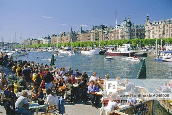 Stockholm  Hauptstadt  Europa  Großstadt  Boot  Restaurant  Skandinavien  Schweden