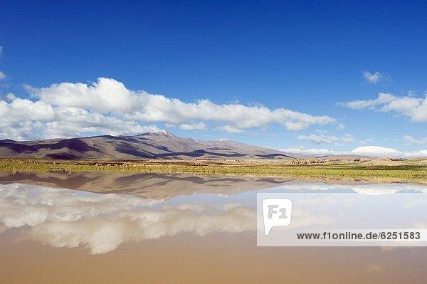 Landschaftlich schön  landschaftlich reizvoll  Berg  Spiegelung  See  Bolivien  Südamerika