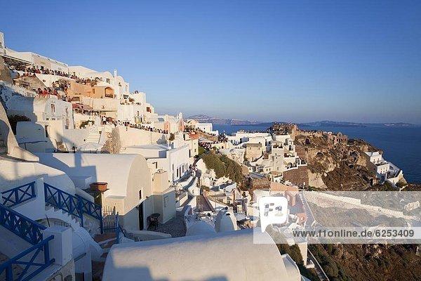Village of Oia (La)  Santorini (Thira)  Cyclades Islands  Aegean Sea  Greek Islands  Greece  Europe