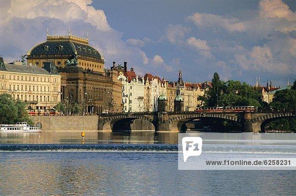 Prag Hauptstadt Europa Gebäude Fluss Tschechische Republik Tschechien vorwärts Moldau