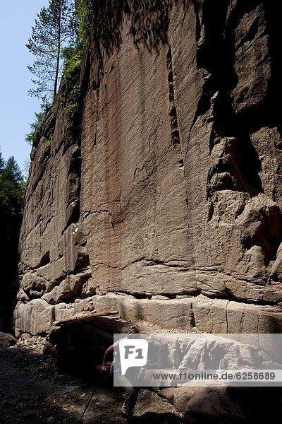 Geoparc Bletterbach  gegraben große Schlucht in den Felsen  in Aldein  Bozen Provinz  Südtirol  Italien  Europa