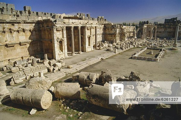The great court in the acropolis of Baalbek  archaeological site  Baalbek  Lebanon  Middle East
