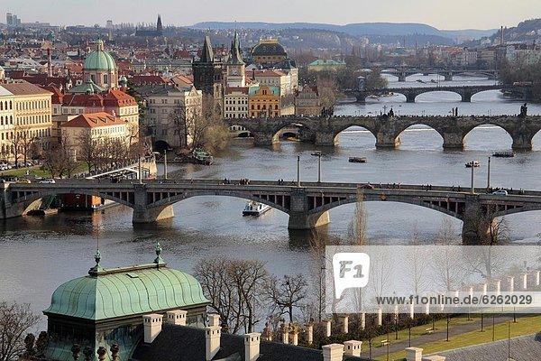 Bridges over the River Vltava  Old Town  Prague  Czech Republic  Europe