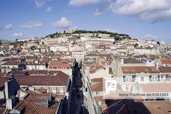 City and St. George's Castle  Lisbon  Portugal  Europe