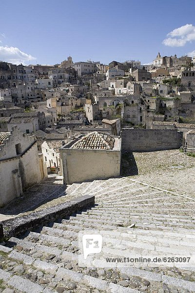 The Sassi Quarter  UNESCO World Heritage Site  city of Matera  Basilicata  Matera Province  Italy  Europe
