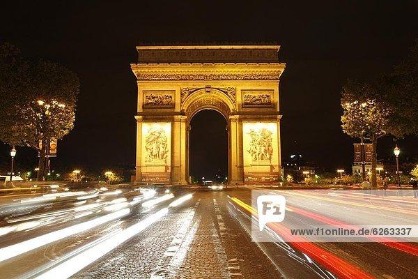 Paris  Hauptstadt  Frankreich  Europa  Nacht  Brücke