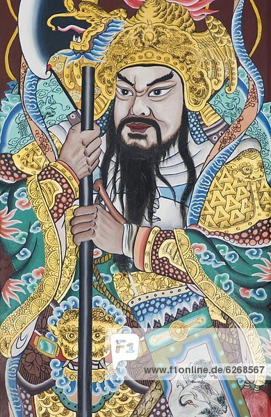 Painted temple door panel in the Thian Hock Keng Temple  Chi0town  Singapore  Southeast Asia  Asia
