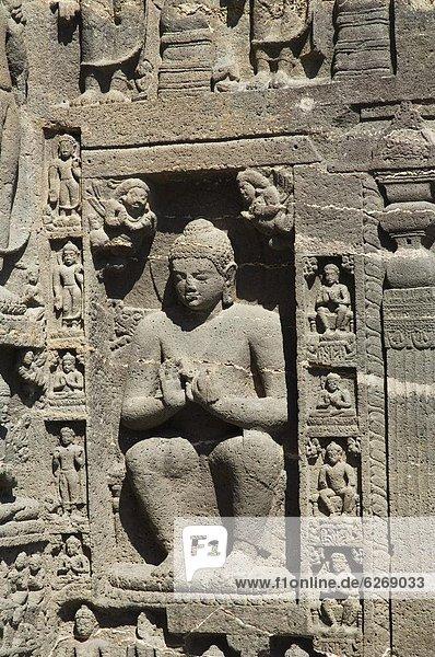 Felsbrocken  flirten  rauh  fünfstöckig  Buddhismus  schnitzen  Tempel  Jahrhundert  Indien