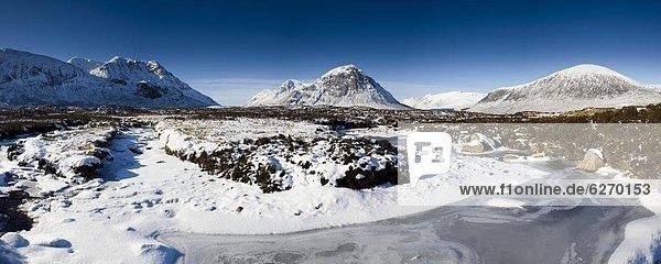 Europa  bedecken  Großbritannien  Highlands  Ansicht  Moor  Schottland  Schnee