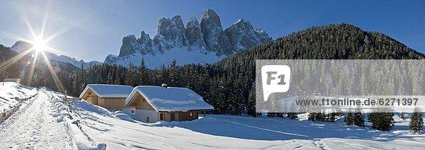 Europa Dolomiten Trentino Südtirol Italien val di funes Winterlandschaft Trentino-Südtirol