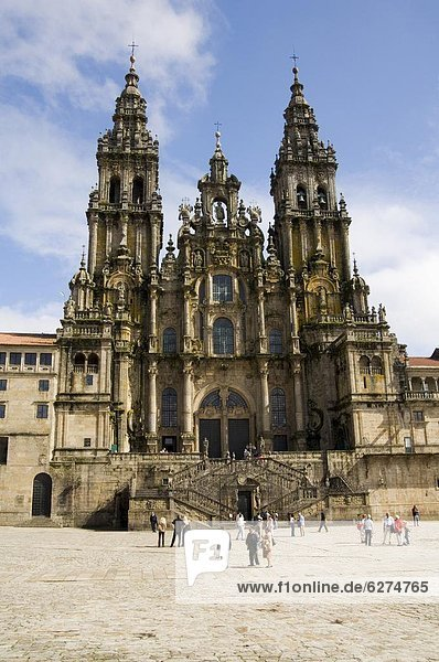 Santiago Kathedrale auf der Plaza Obradoiro  UNESCO-Weltkulturerbe  Santiago De Compostela  Galicien  Spanien  Europa