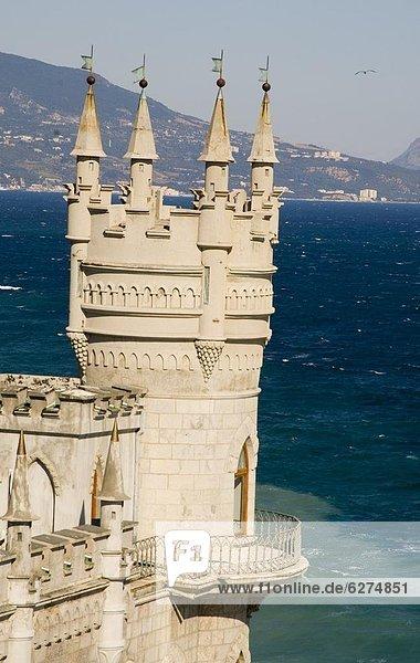 Europa Palast Schloß Schlösser über Steilküste Meer schwarz hocken - Tier Krim Ukraine