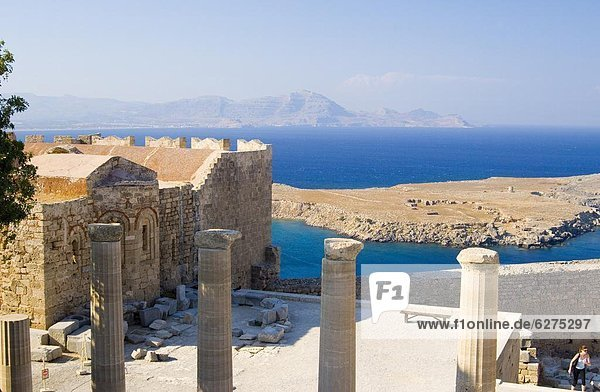 Columns and the sea from The Acropolis  Lindos  Rhodes  Dodecanese Islands  Greek Islands  Greece  Europe