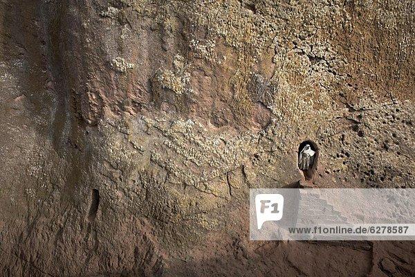 Eine Frau ergibt sich aus einem Tunnel führt zu den Felskirchen Kirche von Bet Amanuel  in Lalibela  Äthiopien  Afrika