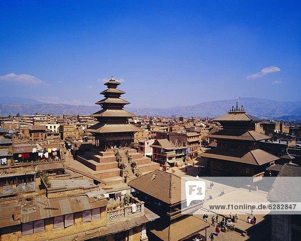 View of Taumadi Tole  Nyatapola Buddist Temple  Bhaktapur Nepal  Asia