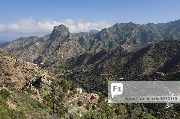 The valley of Vallehermoso  La Gomera  Canary Islands  Spain  Europe