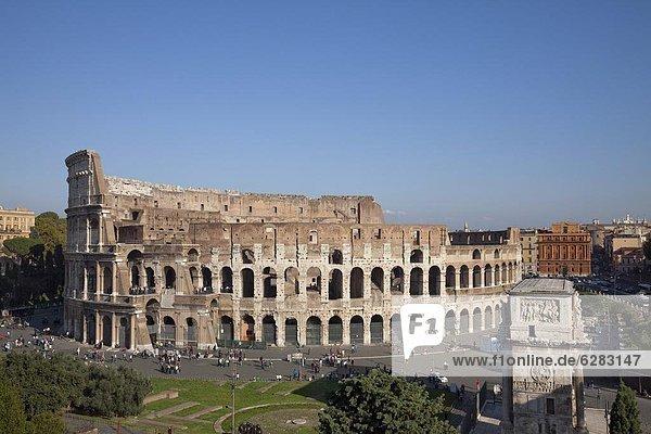 Colosseum amphitheatre  UNESCO World Heritage Site  Rome  Lazio  Italy  Europe