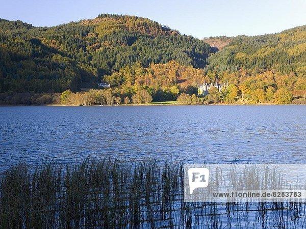 Laubwald  Europa  Großbritannien  Hügel  Herbst  Ansicht  See  Schottland  Stirling