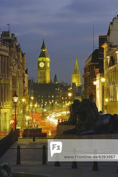 Evening view from Trafalgar Square down Whitehall with Big Ben in the background  London  England  UK