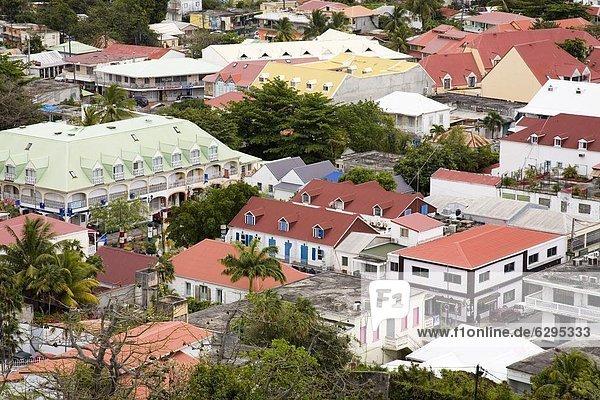 Großstadt Karibik Westindische Inseln Mittelamerika Ansicht Festung Französische Antillen