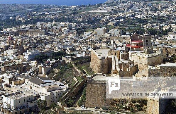 Aerial view of the Citadel  Victoria or Rabat  Gozo Island  Malta  Mediterranean  Europe