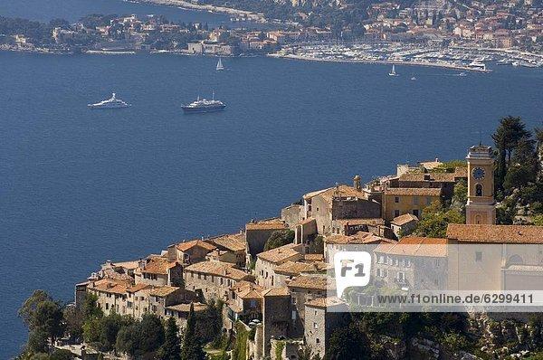 Eze village and Cap Ferrat  Alpes Maritimes  Provence  Cote d'Azur  French Riviera  France  Mediterranean  Europe