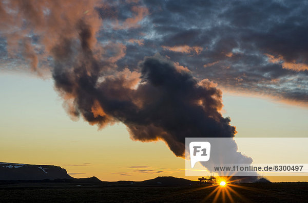 Well of a geothermal power station at sunset  Lake Myvatn area  Nor_urland eystra  north-east region  Iceland  Europe