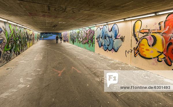 Straßenunterführung mit Graffiti  Südring  Innsbruck  Tirol  Österreich  Europa  ÖffentlicherGrund