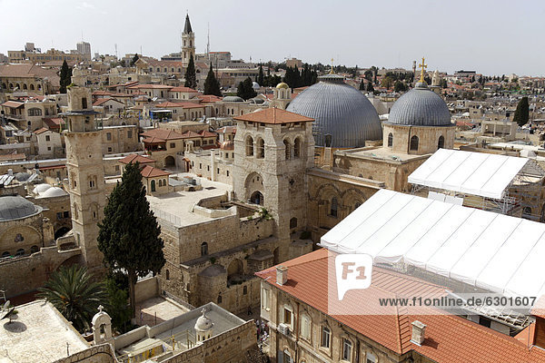 View from the tower of the Lutheran Church of the Redeemer to the Church of the Holy Sepulchre with the Dome of the Rock  Jerusalem  Yerushalayim  Israel  Middle East