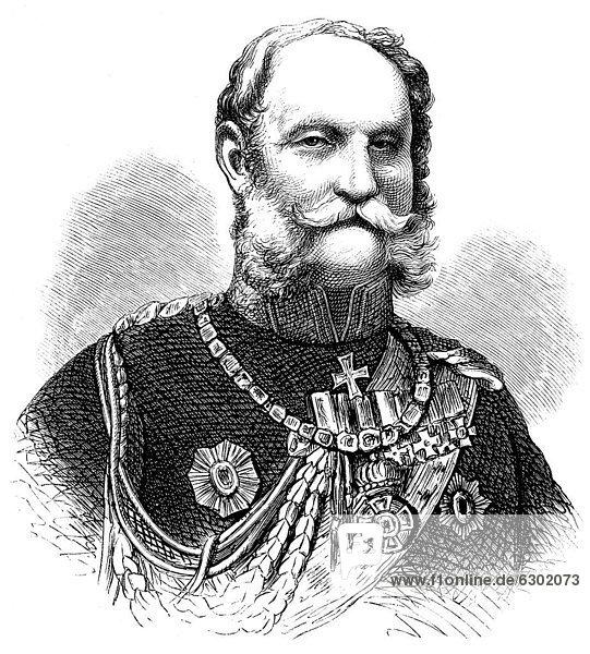 Historische Zeichnung aus dem 19. Jahrhundert  Portrait von Wilhelm Friedrich Ludwig von Preußen oder Wilhelm I.  1797 - 1888  aus dem Hause Hohenzollern  König von Preußen und erster Deutscher Kaiser