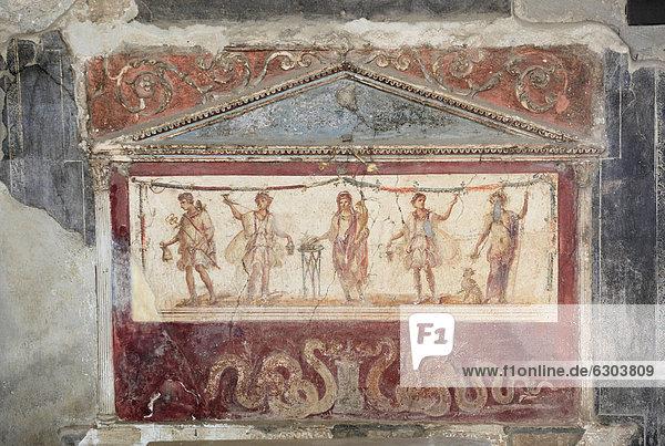 Gemälde im Thermopolium der Asellina  Weinstube  in der Via dell' Abbondanza  Pompeji  Kampanien  Italien  Europa