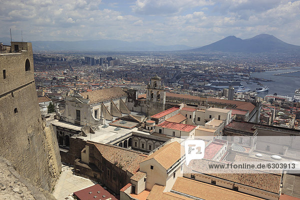 Naples as seen from Castel Sant Elmo fortress  Vomero district above Naples  Campania  Italy  Europe