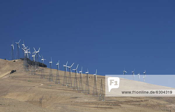 The world's second largest collection of wind turbines in Tehachapi Pass  a dozen private companies operate about 5  000 turbines on the site  northeast of Los Angeles  Tehachapi  California  USA