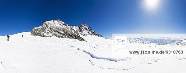Bergsteiger auf Schitour am Großglockner  Hohe Tauern  Österreich  Europa