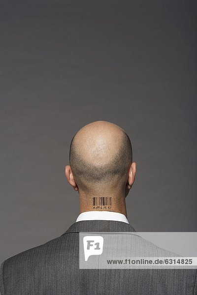 Glatze kahl Strichcode grau Geschäftsmann über Hintergrund