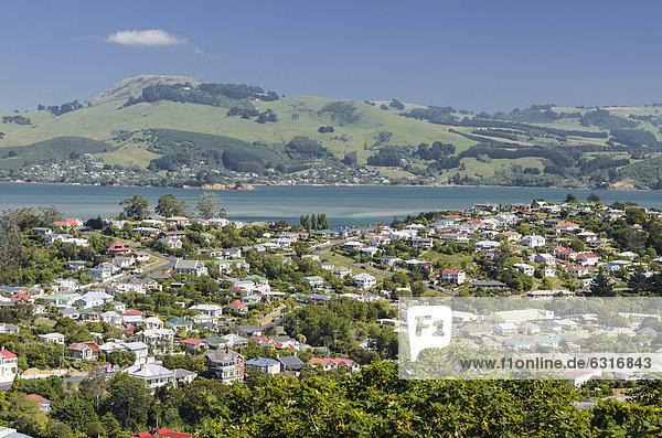 Blick auf Siedlung Port Chalmers Dunedin  Südinsel  Neuseeland  Ozeanien
