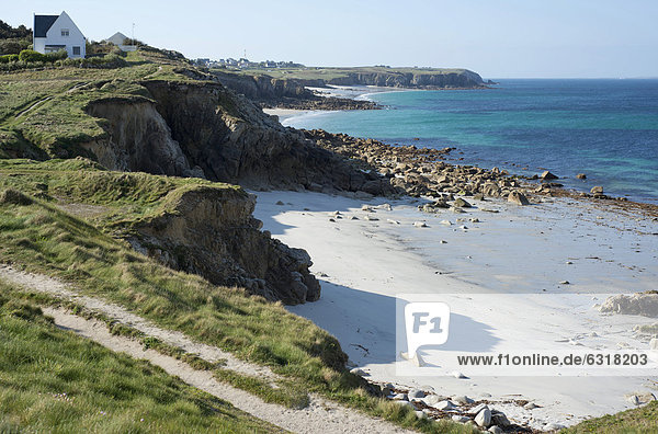 Felsbrocken Frankreich Europa Strand Küste Sand Bretagne