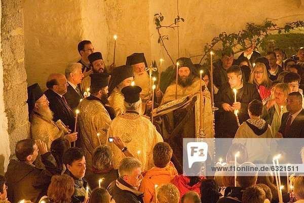 europe  greece  dodecanese  patmos island  chora  monastery of saint john theologian  easter sunday  the easter mass