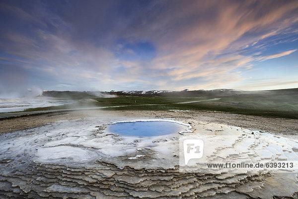 Hot spring  sinter terraces  Hveravellir high-temperature or geothermal region  Highlands  Iceland  Europe