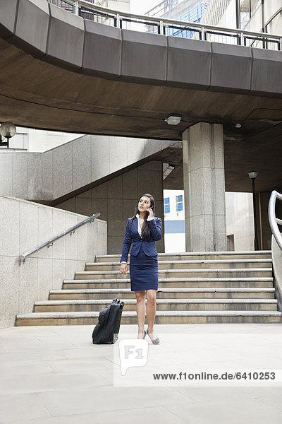 Handy  Außenaufnahme  benutzen  Geschäftsfrau  Gepäck  Indianer  jung  freie Natur