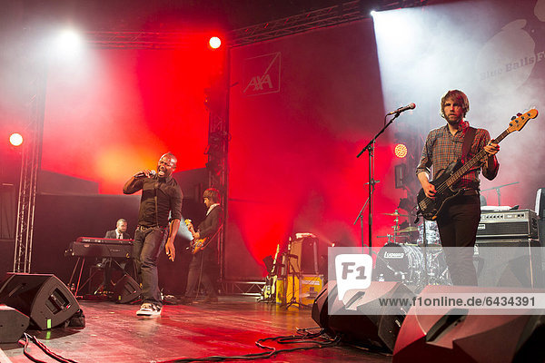 'Singer and frontman Kelvin Swaby of the British indie rock band ''The Heavy'' performing live at the Lucerne hall of the KKL  Blue Balls Festival  Lucerne  Switzerland  Europe'