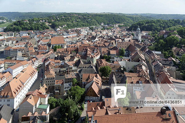 View of the town of Meissen from the roof of Meissen Cathedral  Saxony  Germany  Europe