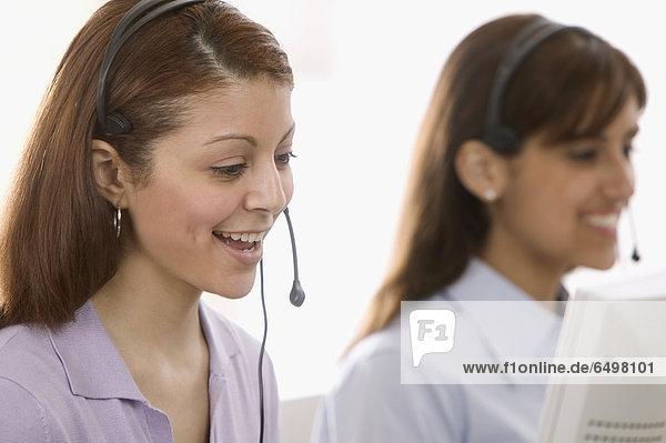 Geschäftsfrau  Computer  Headset