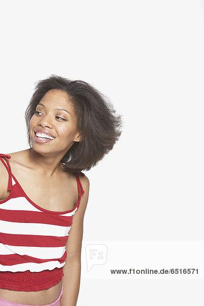 Frau  sehen  lächeln  Seitenansicht
