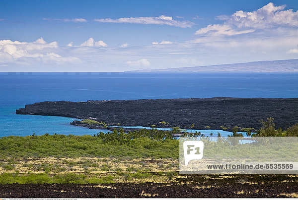 Mandatory Credit: Photo by Masa Ushioda / SpecialistStock / Rex Features ( 1277187a ) lava field and KiholoBay  Kohala Coast  Big Island  Hawaii  USA  Pacific Ocean. VARIOUS